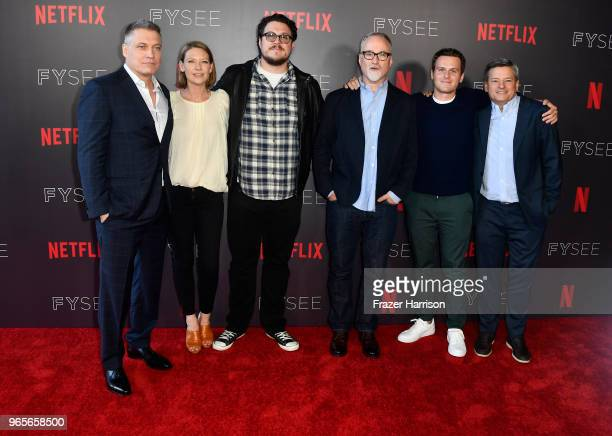 Holt McCallany Anna Torv Cameron Britton David Fincher Jonathan Groff Ted Sarandos attend Netflix's 'Mindhunter' FYC Event at Netflix FYSEE At...