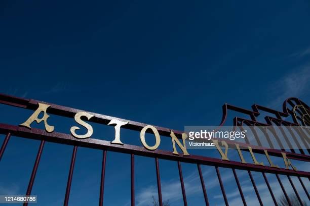 Holte End gates at Villa Park home of Aston Villa FC on March 23 2020 in Birmingham United Kingdom