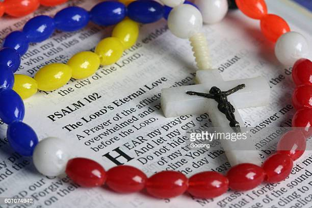 Holy Bible and rosary The Psalms France