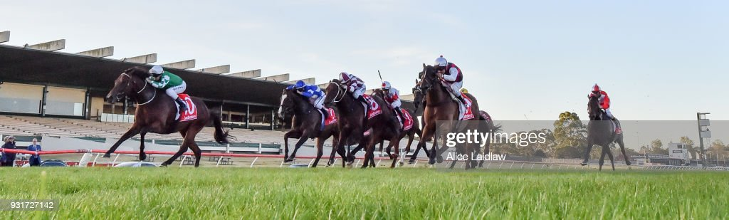 Holy Blade ridden by Ethan Brown wins the Ladbrokes Handicap at Ladbrokes Park Hillside Racecourse on March 14, 2018 in Springvale, Australia.