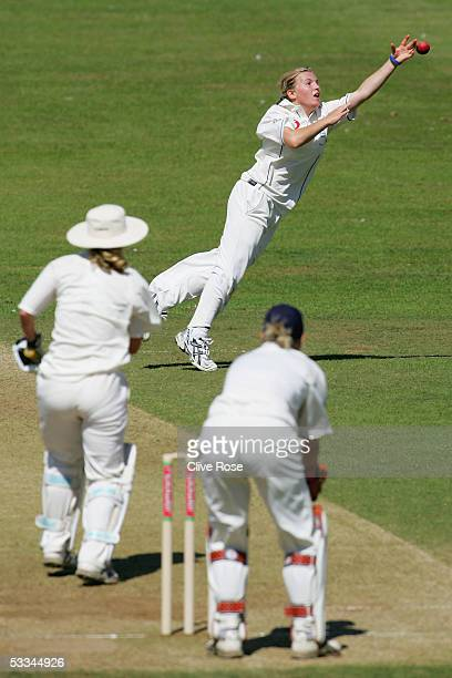Holy Colvin of England dives for a catch during the 1st Test Match between England women and Australia women at Sussex County cricket ground on...
