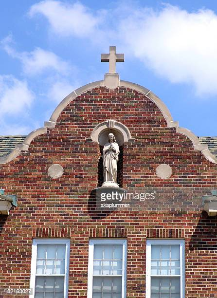 Holy Cross Convent Church with statue of Virgin Mary