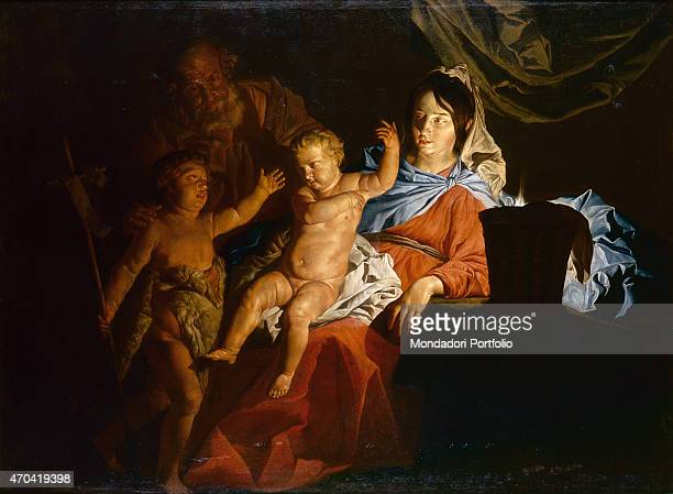 'Holy Family by Matthias Stomer c 1600 17th Century oil on canvas 152 x 206 cm Italy Campania Naples National Museum of Capodimonte Whole artwork...