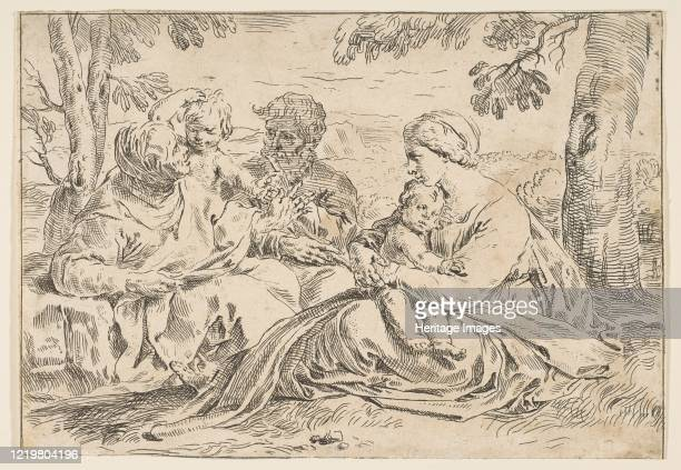 Holy Family with Saint Elizabeth and Saint John the Baptist, copy in reverse after Cantarini, ca.1639 or after. Artist Unknown.