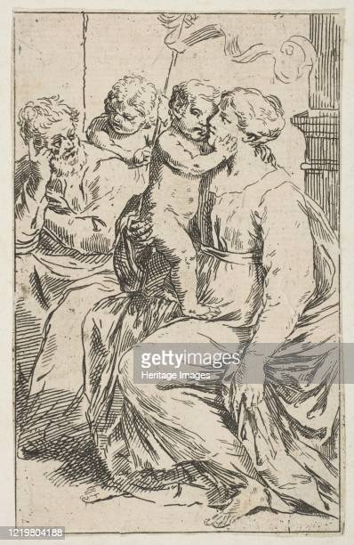 Holy Family with Saint John the Baptist, copy in reverse after Cantarini, circa 1640-1642 or after. Artist Unknown.