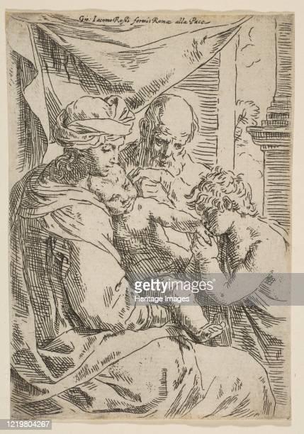 Holy Family with Saint John the Baptist kissing the infant Christ's hand, ca.1642. Artist Simone Cantarini.