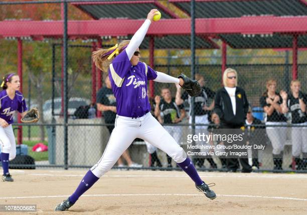 Holy Family's Nicole Gardon throws against Valley during Saturday's state semi final softball championship game at Aurora Sports Park