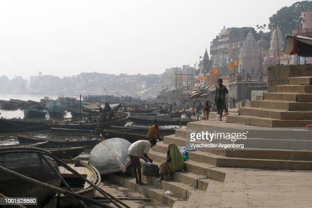 Holy Ganges river, ghats, temples and embankments of Varanasi, India's holiest city to die, one of the oldest living cities (1800 BCE) in the world