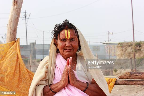 holy lady in kumbh 2013 - brahmin stock pictures, royalty-free photos & images