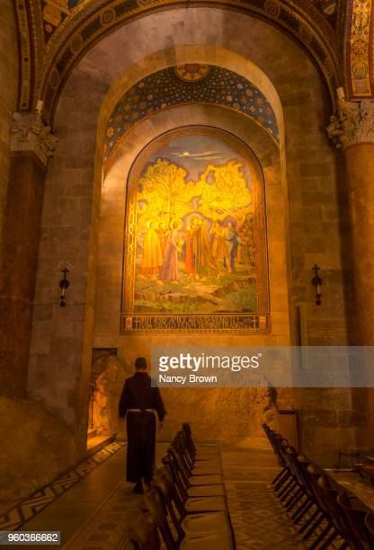 holy man in church of all nations in jerusalem. - garden of gethsemane stock pictures, royalty-free photos & images