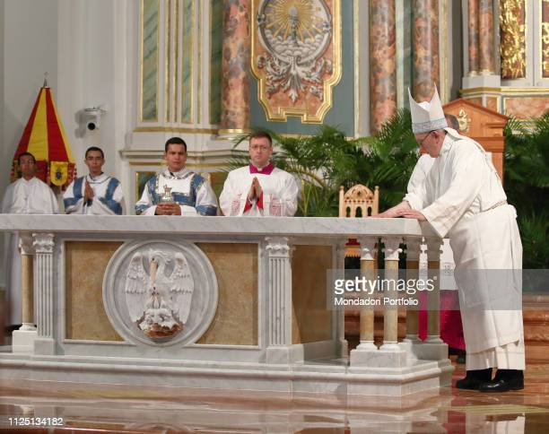 Holy Mass celebrated by Pope Francis with the dedication of the altar of the Cathedral Basilica of Santa Maria la Antigua with priests consecrated...