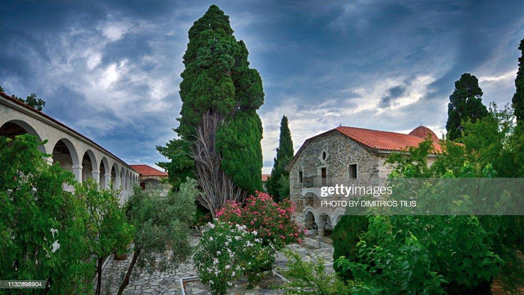 Holy Monastery of Annunciation Island (Ancient) Trikeri panorama 2 : Stock Photo