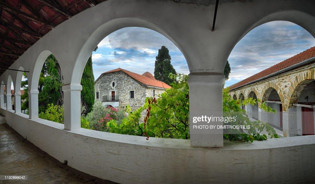 Holy Monastery of Annunciation Island (Ancient) Trikeri panorama : Stock Photo