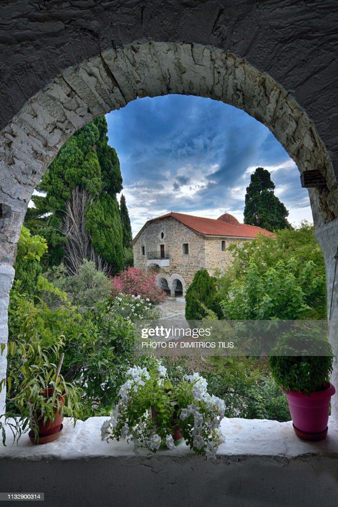 Holy Monastery of Annunciation Island (Ancient) Trikeri : Stock Photo