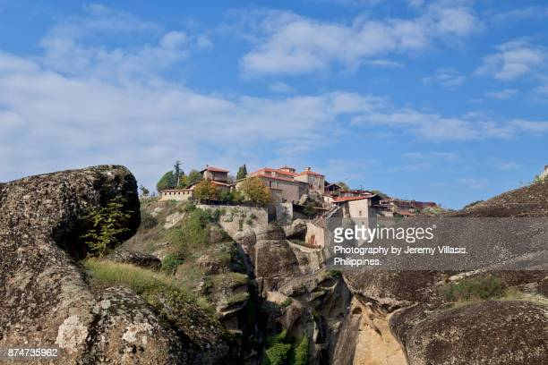 holy monastery of great meteoro in meteora, greece - thessaly stock pictures, royalty-free photos & images