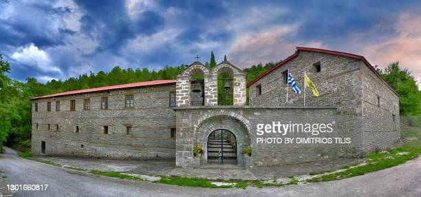 holy monastery of virgin mary's entrances  exterior panorama - dimitrios tilis stock pictures, royalty-free photos & images