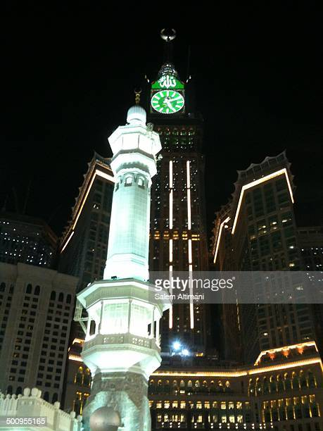 Holy mosque menarat and big clock in Mecca