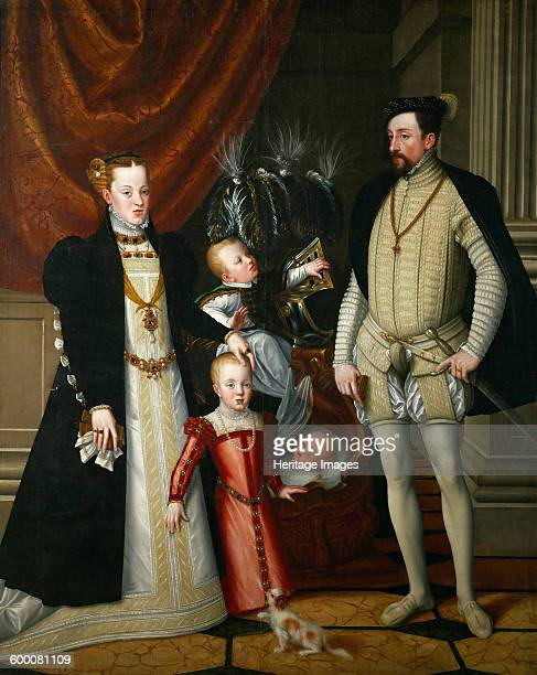 Holy Roman Emperor Maximilian II of Austria and his wife Infanta Maria of Spain with their children ca 1563 Found in the collection of Ambras Castle...