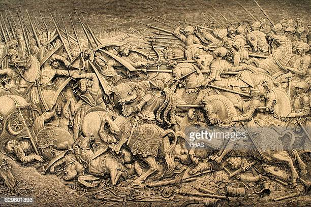 Holy Roman Empire Reign of Maximilian I War against the Ottoman Empire Engraving by Historia Universal 1885