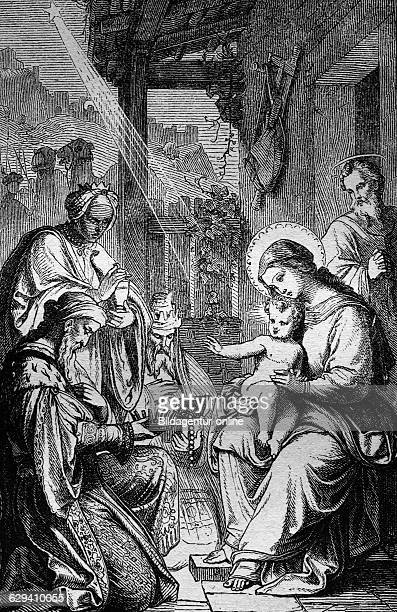 Holy three kings historical steel engraving from the year 1860