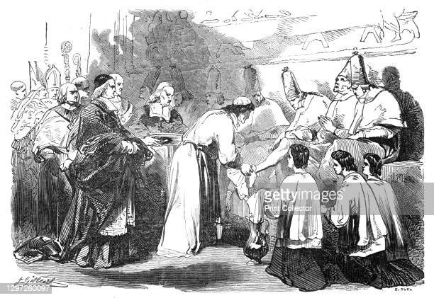 Holy Thursday - the Pope washing the feet of poor priests, 1844. Easter in Rome: '...the feet of certain poor men are washed by the Pope, in the...
