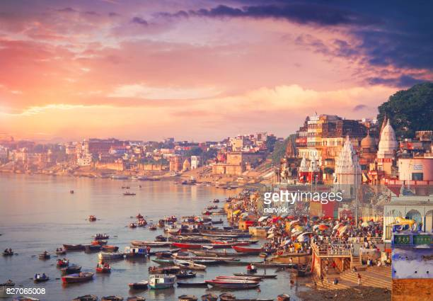 holy town varanasi and the river ganges - uttar pradesh stock pictures, royalty-free photos & images