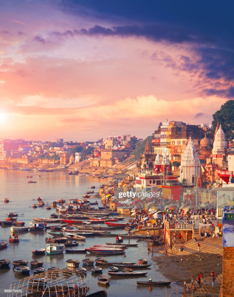 Holy town Varanasi and the river Ganges : Stock Photo