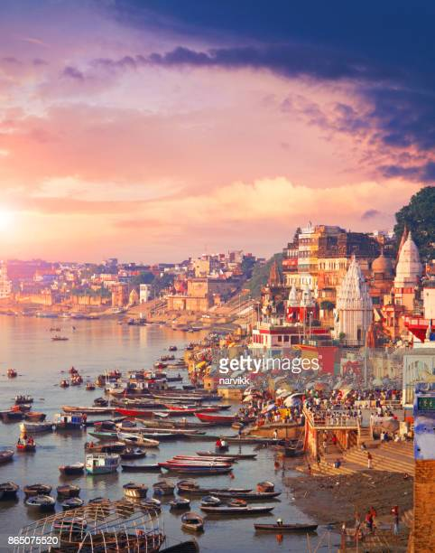 holy town varanasi and the river ganges - varanasi stock pictures, royalty-free photos & images