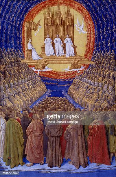Holy Trinity and all the saints Miniature from The Hours of Etienne Chevalier by Jean Fouquet 1445 Conde Museum Chantilly France