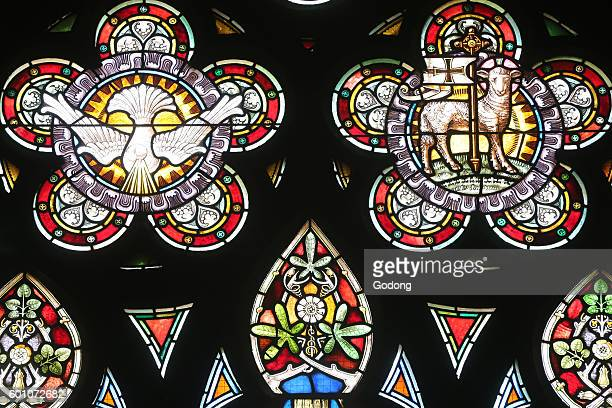 Holy Trinity Church Geneva Stained glass window Holy spirit and Lamb of God Switzerland