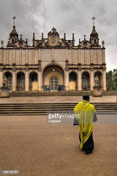 Holy Trinity Church with Orthodox Priest