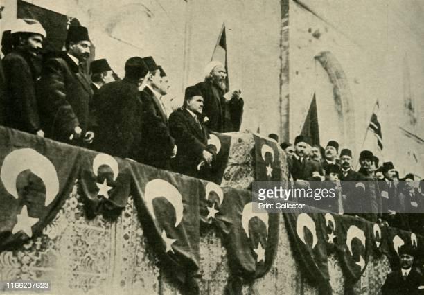 Holy War is pronounced at the Fatih Mosque, Constantinople, Turkey, 14 November 1914, . 'The Fetwa of the Sheikh-ul-Islam: How the Holy War was...