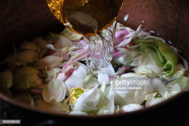 Holy water of lotus flower which was set up for worshipers during the Chinese New Year 2017 at Wat Phnom