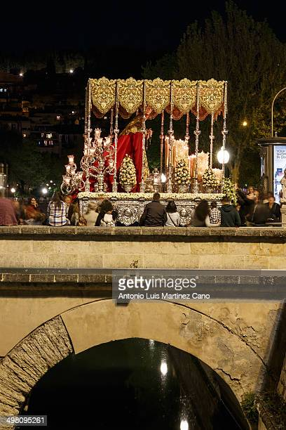 Holy Week in Granada, Easter Monday. Brotherhood of the Holy Christ of Labor and Our Lady of Light passing through the Puente Romano.