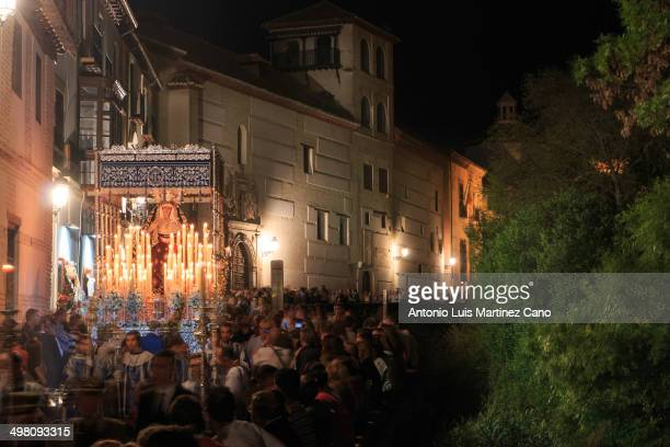 Holy Week in Granada, Holy Thursday. Brotherhood of Our Father Jesus of Love and Delivery and the Virgin of the Conception in its passage through the...