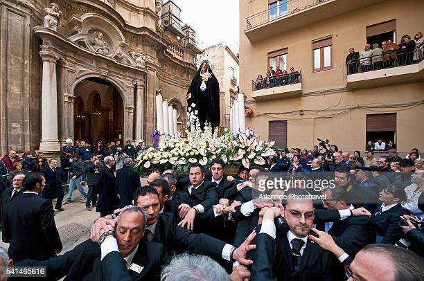 Holy Week, Processione dei Misteri (The Procession of the Mysteries), one of the 'Misteri' (Mysteries): Our Lady of Sorrows statue
