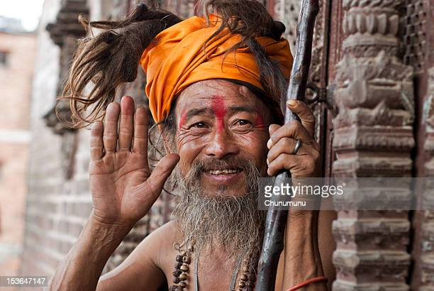 Holyman in Nepal giving blessing