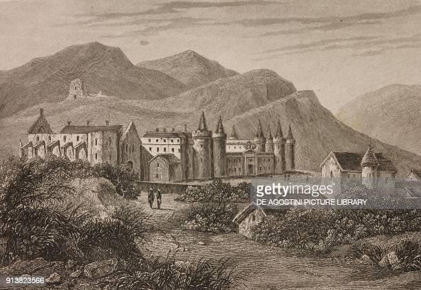 Holyrood Palace Edinburgh Scotland United Kingdom engraving by Skelton from Angleterre Ecosse et Irlande Volume IV by Leon Galibert and Clement Pelle...