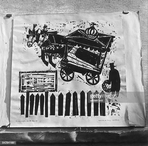 Holzschnitt 'Leichenwagen über der Grenze' von Günter Bruno Fuchsausgestellt in der Galerie Zinke in Berlin Kreuzberg 1961
