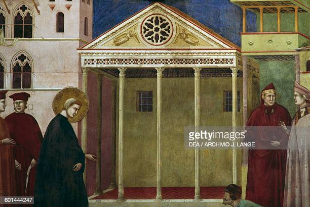 Homage of a simple man fresco Saint Francis cycle by Giotto detail Upper Basilica of St Francis Assisi Umbria Italy