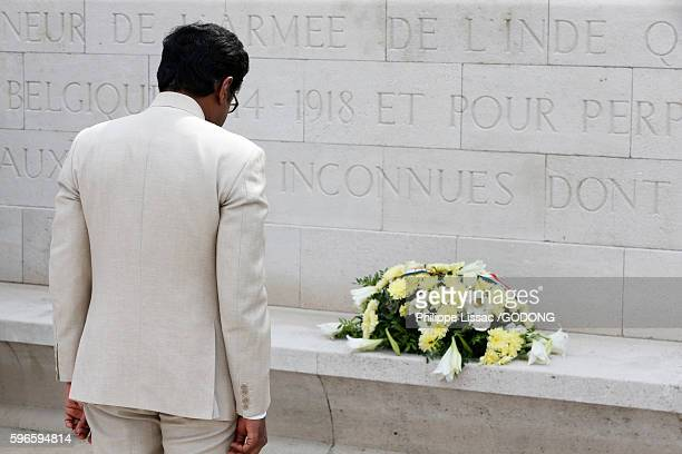 Homage to the Indian soldiers killed in World War 1 at Neuve Chapelle memorial. Indian ambassador laying a wreath.