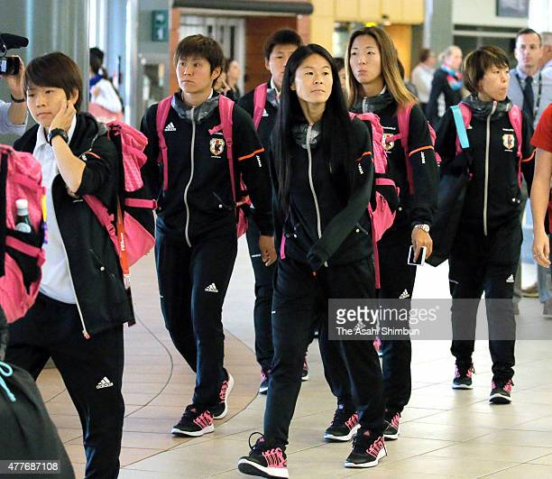 Homare Sawa and members of Japan are seen on arrival at vancouver International Airport on June 17, 2015 in Vancourver, Canada.