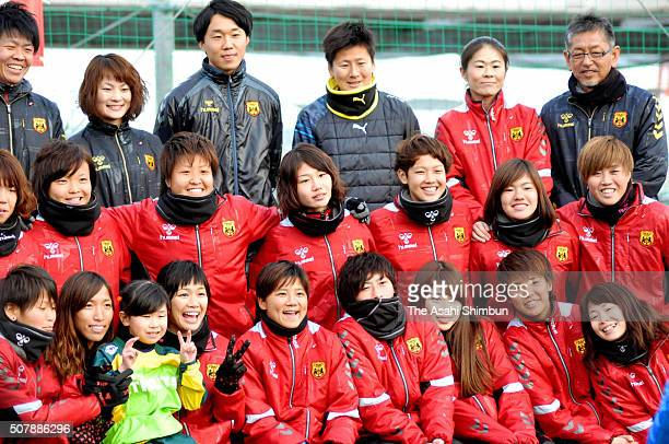 Homare Sawa and players pose for photographs during the INAC Kobe Leonessa Fan Festival at the Kobe Ladies Football Center on January 30 2016 in Kobe...