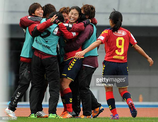 Homare Sawa of INAC Kobe Leonessa celebrates the first goal during the 37th Empress's Cup All Japan Women's Championship final match between INAC...