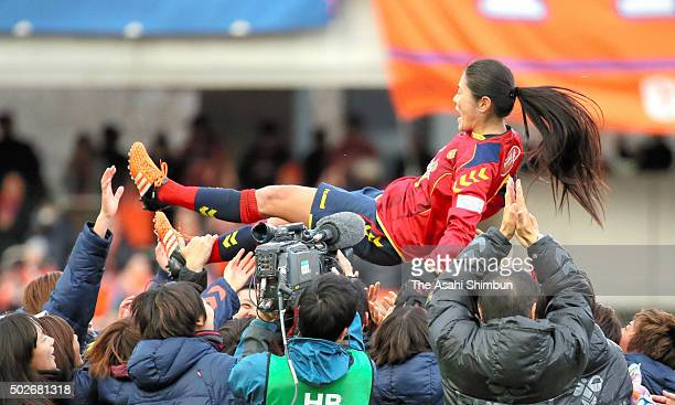 Homare Sawa of INAC Kobe Leonessa is thrown into the air after winning the 37th Empress's Cup All Japan Women's Championship final match between INAC...