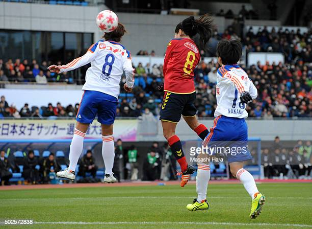 Homare Sawa of INAC Kobe Leonessa scores the first goal during the 37th Empress's Cup All Japan Women's Championship final match between INAC Kobe...