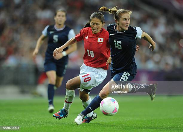 Homare Sawa of Japan and Rachael Buehler of USA during the USA vs. Japan Final match in the Women's Soccer Competition as part of the 2012 London...