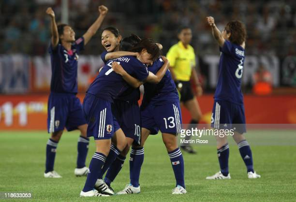 Homare Sawa of Japan celebrate with her team mates after the FIFA Women's World Cup 2011 Quarter Final match match between Germany and Japan at...