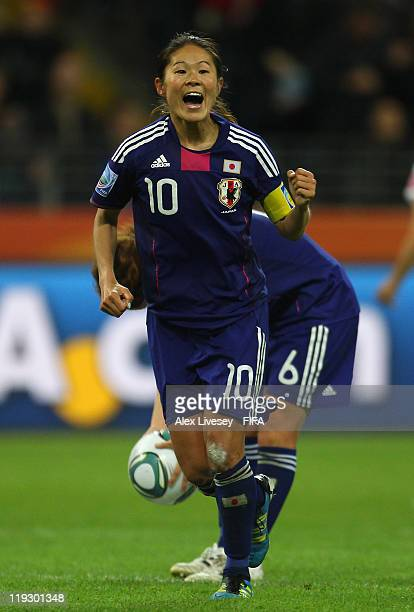 Homare Sawa of Japan celebrates after scoring her goal during the FIFA Women's World Cup Final match between Japan and USA at the FIFA Women's World...
