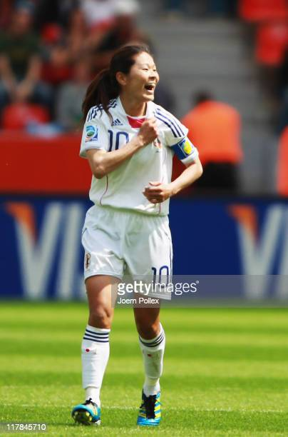 Homare Sawa of Japan celebrates after scoring her team'S first goal during the FIFA Women's World Cup 2011 Group B match between Japan and Mexico at...